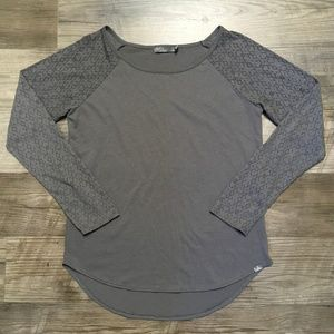 Prana Shirt Sz S Gray Long Sleeve Burnout Workout